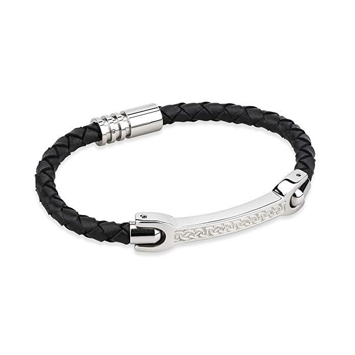 Mens Celtic Leather Bracelet Stainless Steel Made In