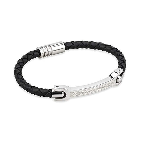 Mens Celtic Leather Bracelet Stainless Steel Made in Ireland