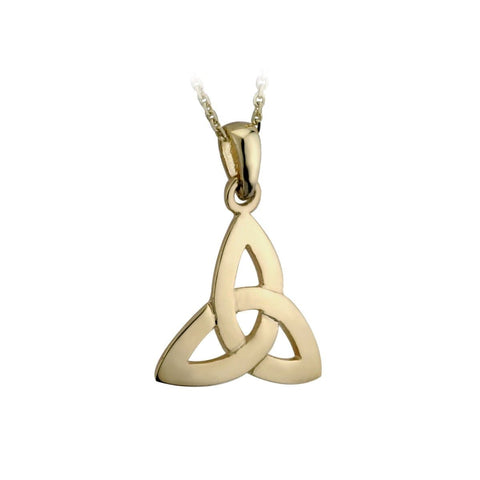"Gold Trinity Knot Necklace Plated 18"" Chain Irish Made"