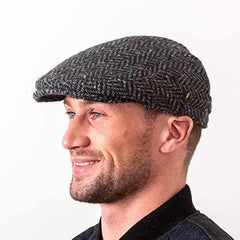 Tweed Cap Made in Ireland Contoured Driving Cap Style Slim Look Herringbone or Fleck Killarney Tweed Made By Hatman of Ireland