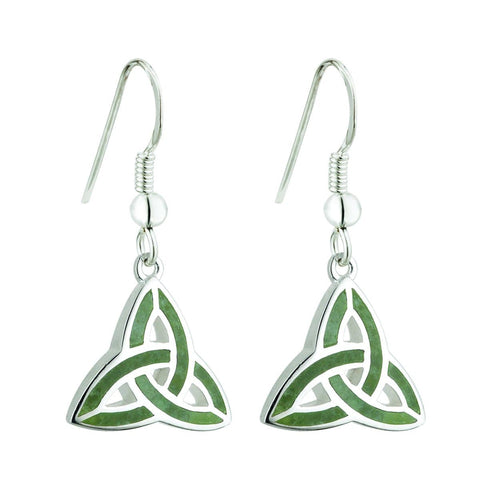 Irish Jewelry for Women Trinity Knot Earrings Sterling Silver & Connemara Marble Made in Ireland