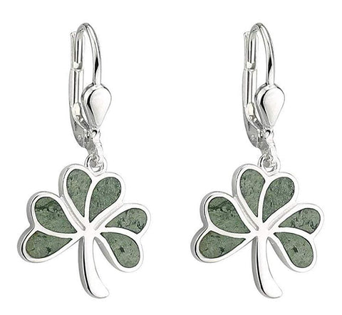 Shamrock Earrings Connemara Marble & Sterling Silver Made in Ireland