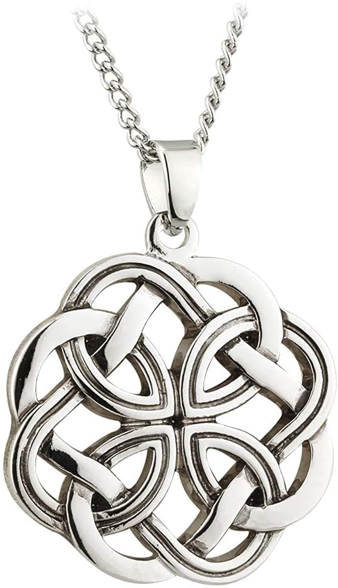Celtic Knot Pendant Rhodium Plated Made in Ireland