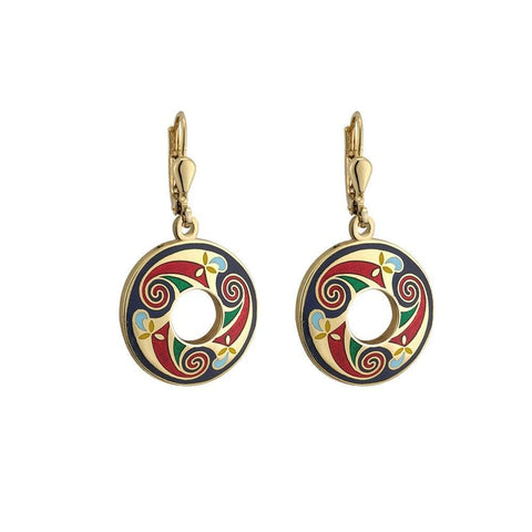 Round Celtic Earrings Gold Plated Book of Kells Dangles Colorful Irish Made
