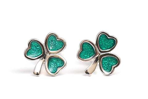 Shamrock Sterling Silver Earrings Irish Celtic Green Enamel Studs Made in Ireland
