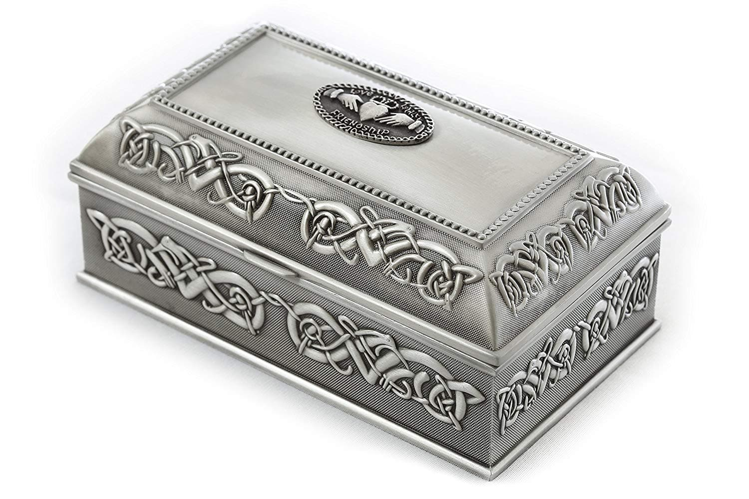 Claddagh Jewelry Box Square 3 Sizes Pewter Made in Ireland