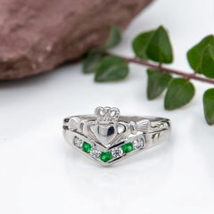 Claddagh Rings For Women Green Gem & Cubic Zirconia Wishbone Band Made in Ireland Irish Claddagh Ring Crafted By Maker-Partner Solvar in Co. Dublin, Ireland