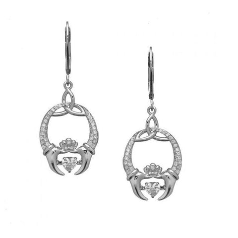 Claddagh Earrings Sterling Silver Trinity Knot Dancing Stone Made in Ireland