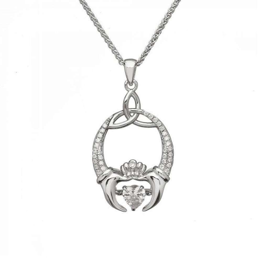 Claddagh Necklace Sterling Silver Trinity Knot Dancing Stone Made in Ireland