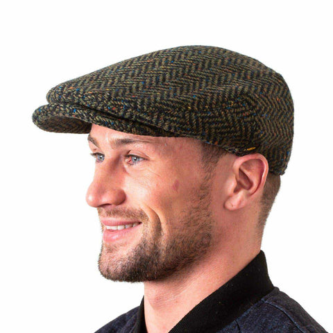 Irish Tweed Cap Made in Ireland Flat Cap with Curved Peak Style Slim Look Herringbone or Fleck Patterns Donegal Tweed Made by Hatman of Ireland