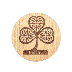 Irish Coasters for Drinks Set of Four Coasters Set Made of Irish Oak Shamrock Harp Celtic Cross Ireland Coasters Made in Ireland