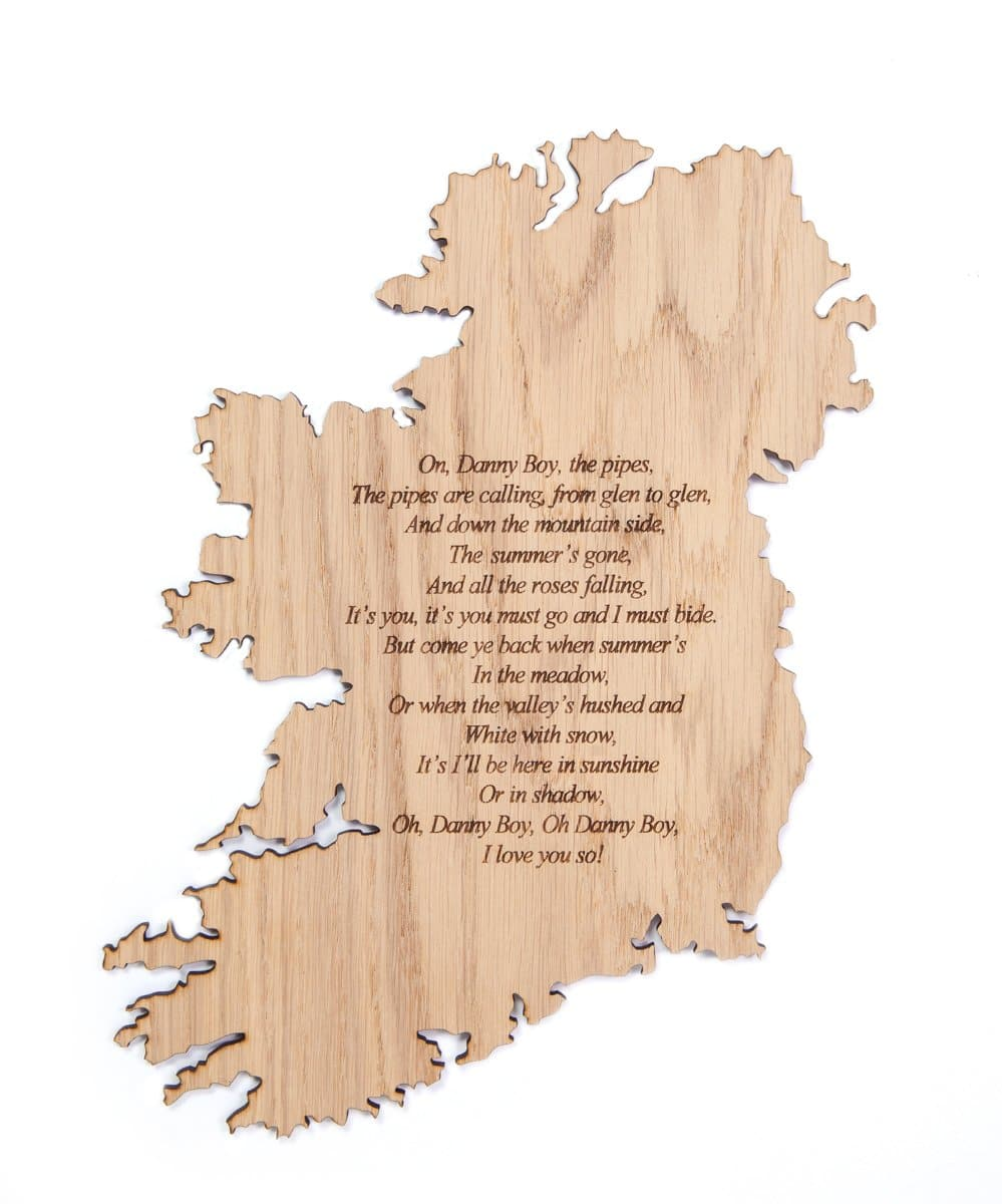 Danny Boy Plaque Made in Ireland Irish Song Oh Danny Boy Unique Gift Crafted in Co. Meath by Maker-Partner Caulfield