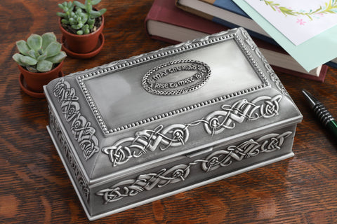 Celtic Jewelry Box Square 3 Sizes May the Road Rise Irish Blessing Pewter Made in Ireland