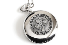 Celtic Pocket Watch Classic Style Shamrock Design Pewter Made in Ireland