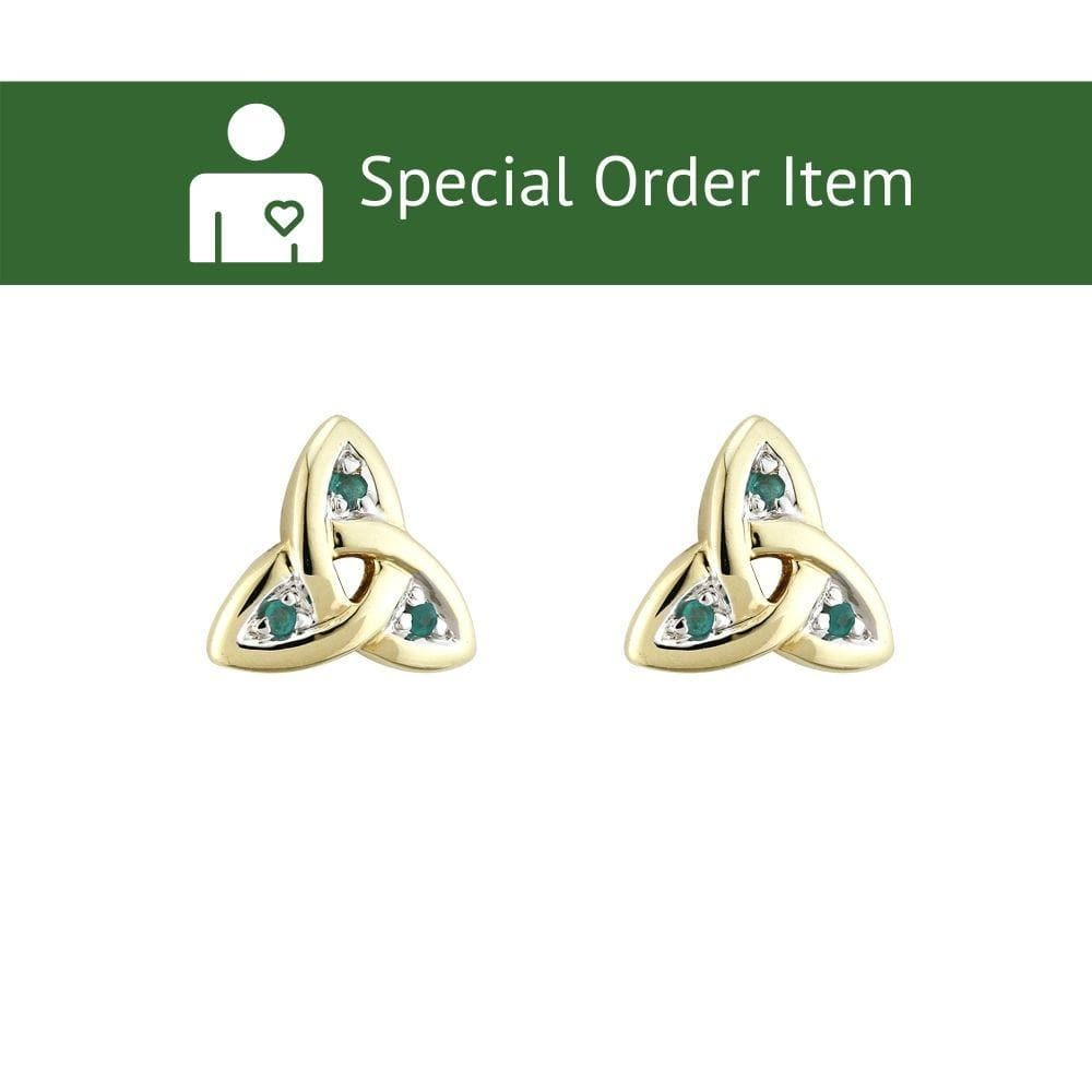 Trinity Knot Earrings 14K Yellow Gold and Emerald Earrings Made in Ireland by Maker-Partner Solvar in Co. Dublin
