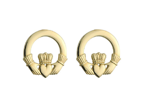14K Gold Claddagh Stud Earrings Small Irish Earrings