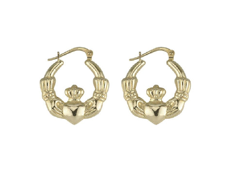 10K Gold Claddagh Hoop Earrings Medium