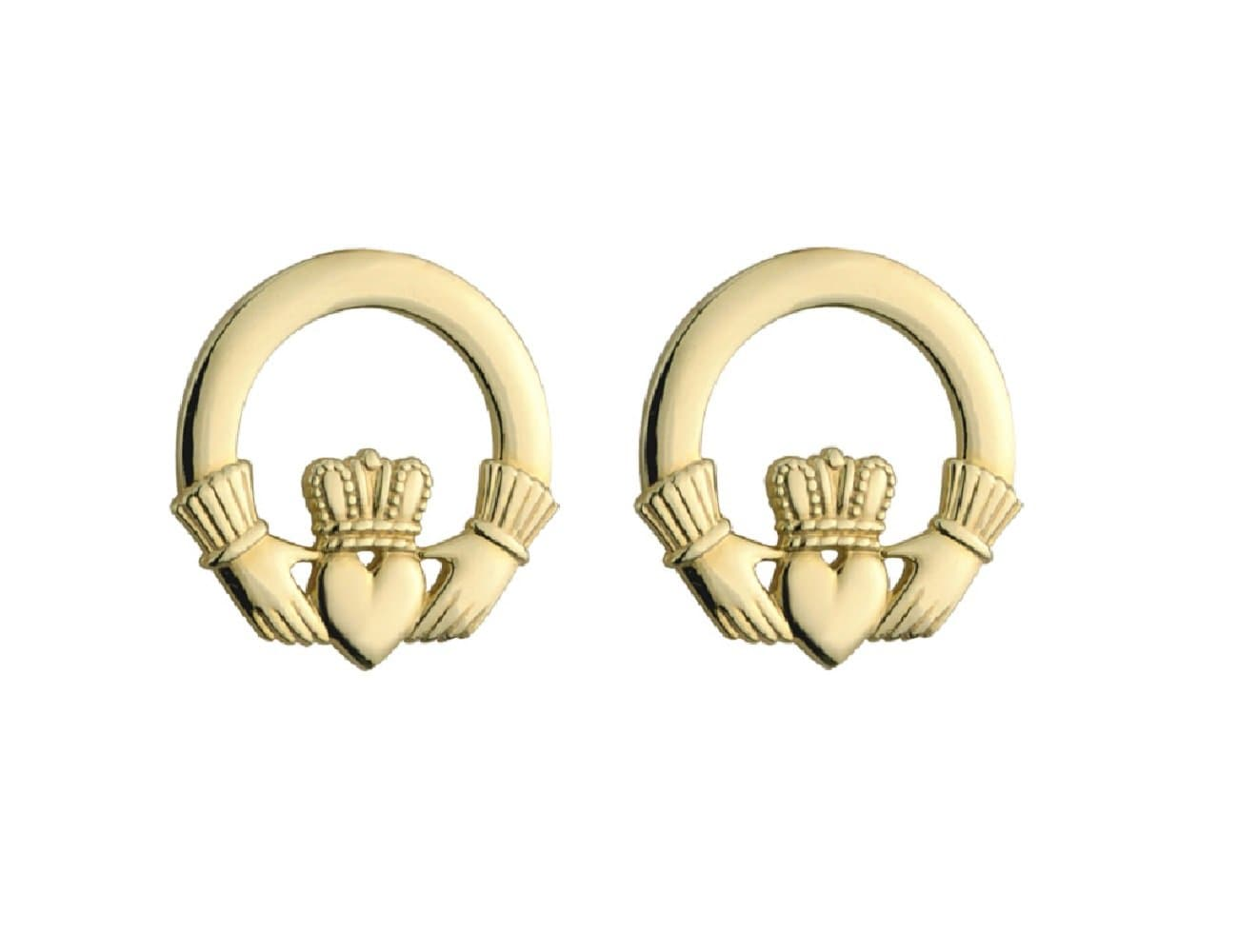 10K Gold Claddagh Stud Earrings Small