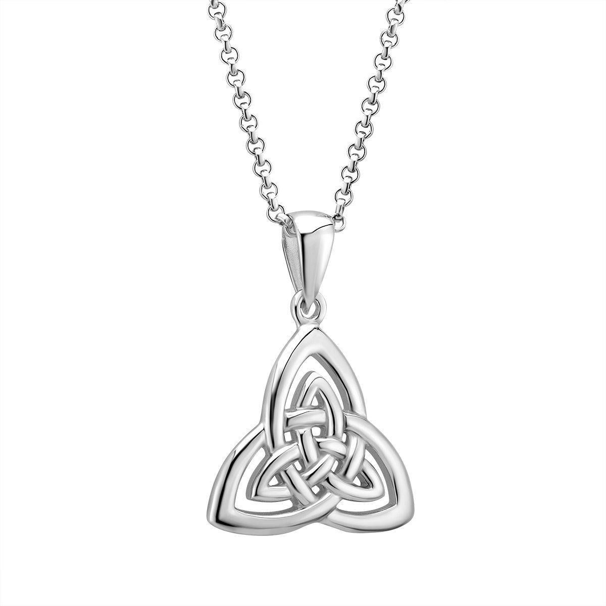 Irish Trinity Knot Necklace Sterling Silver Weave Pattern Made in Co. Dublin, Ireland