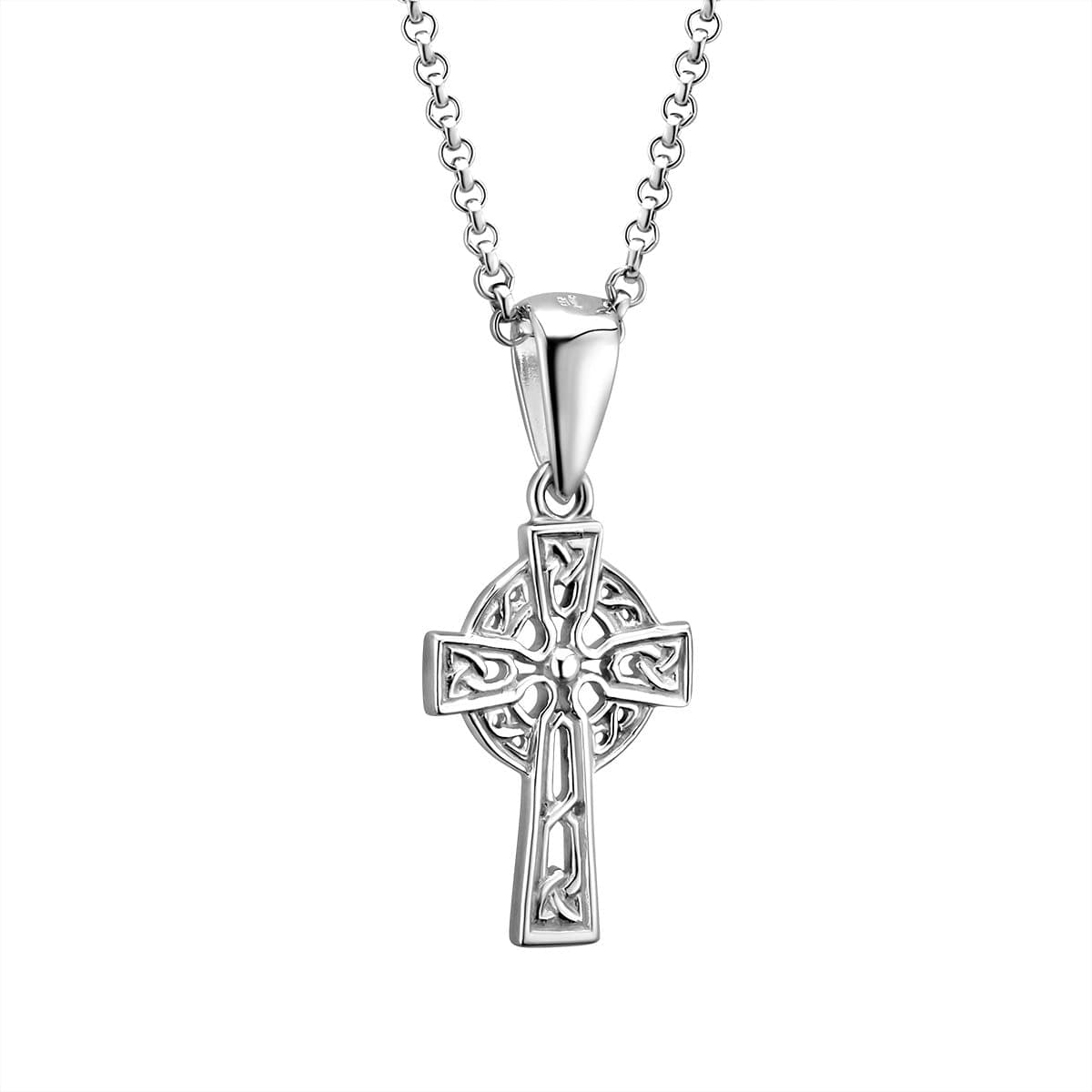 "Sterling Silver Celtic Cross Necklace Hallmarked at Irish Assay Office in Dublin Castle Available In 18"", 20"" and 24"" Lengths with 2"" Extension Chain & Easy to Use Lobster Clasp Made in Ireland"