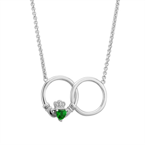 "Claddagh Necklace For Women Sterling Silver Hallmarked at Irish Assay Office in Dublin Castle Available In 18"", 20"" and 24"" Lengths with 2"" Extension Chain & Easy to Use Lobster Clasp Made in Ireland"