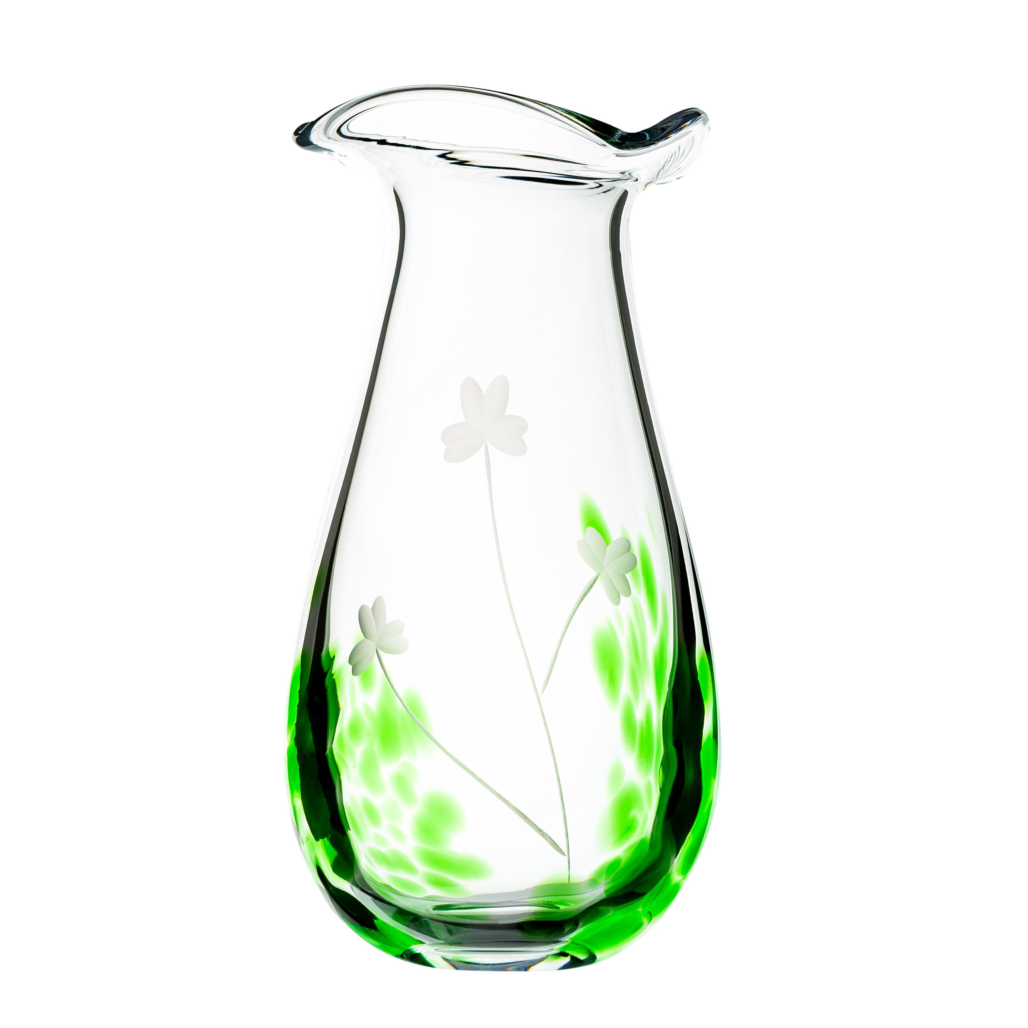 "Shamrock Glassware Large Vase 10"" Tall Irish Gift Handcrafted in Co. Waterford Ireland by Maker-Partner Irish Handmade Glass Company"