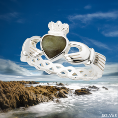 Irish Claddagh Ring Made in Ireland Sterling Silver with Connemara Marble and Weave Detail Made By the Artisans At Solvar in Co. Dublin