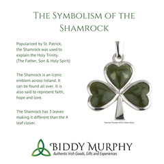 Shiny Shamrock Necklace Rhodium Plated Sterling Silver Pendant Small Irish Charm With 18