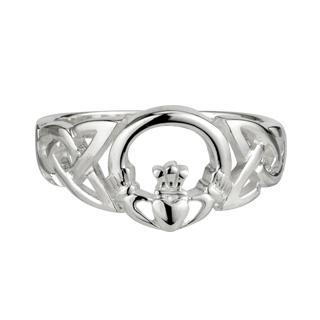 Claddagh Ring For Women Made in Ireland Silver Celtic Weave Design with Claddagh Center Made in Co. Dublin by Maker-Partner Solvar