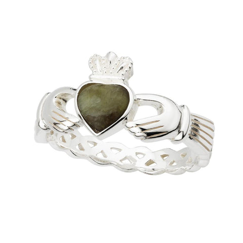 Celtic Weave Claddagh Ring Connemara Marble & Sterling Silver