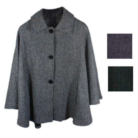 Ladies Irish Wool Cape Buttoned Collar From Ireland