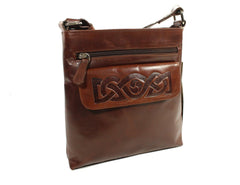 Crossbody Bags for Women Celtic Embossed Leather Irish Made