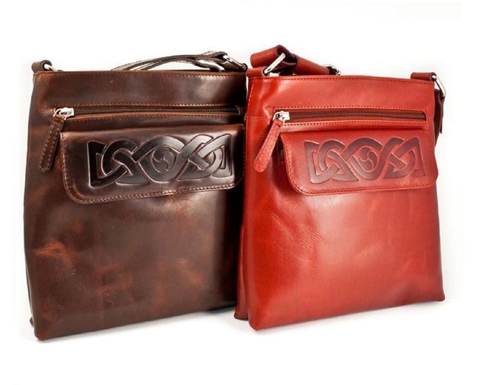 d2eee86418a0 Crossbody Bags for Women Celtic Embossed Leather Irish Made