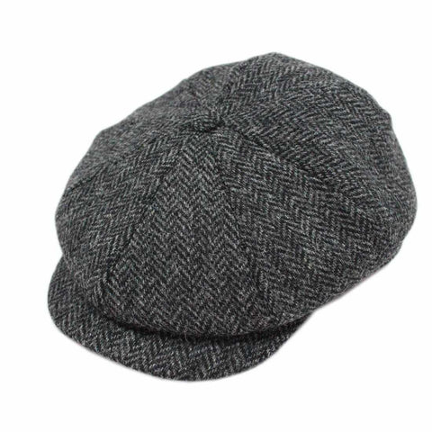 Irish Tweed Cap Charcoal Herringbone Made in Ireland  a0e29273113