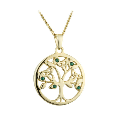 "Gold Tree of Life Necklace Plated Trinity Knots Green Crystals 18"" Chain Made in Ireland"