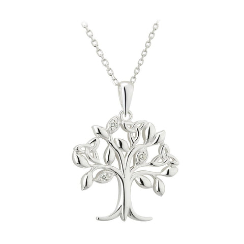 Irish Crystal Tree of Life Sterling Silver Trinity Knots