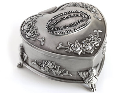 Irish Jewelry Box Heart-Shaped May the Road Rise Medallion Pewter Made in Ireland