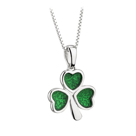 Shamrock Necklace Sterling Silver Green Enamel