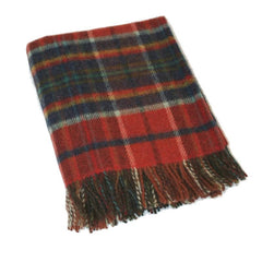 Wool Throw Blankets 100% Wool Small Throw Plaid Durable & Warm Made in Ireland