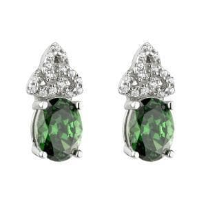 Trinity Knot Earrings Sterling Silver Green CZ