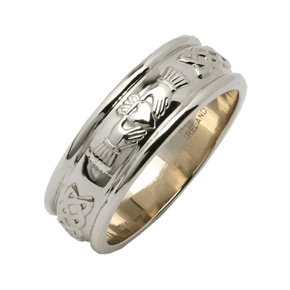 "Claddagh Wedding Ring Mens Made In Ireland Sterling Silver Intricate Claddagh Design Around 1/4"" Band Made By Maker-Partner Fado in Co. Wicklow, Ireland"