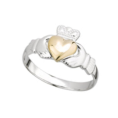 Sterling Silver with 10K Yellow Gold Heart, Irish Claddagh Ring for Women, Made in Co. Dublin, Ireland by Maker-Partner, Solvar