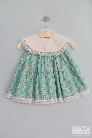 Green & White Flowers Dress- Baby Dress