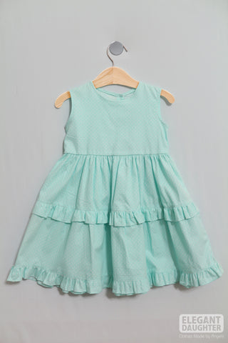 Blue Dress with White Dots- Baby Dress