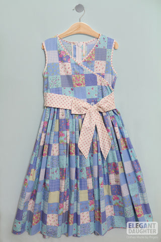 Blue & Colorful Flower Dress with Waist Belt