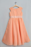 Light Peach Dress with White Lace & Pearls