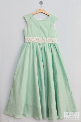 Light Mint Dress with White Lace & Pearls