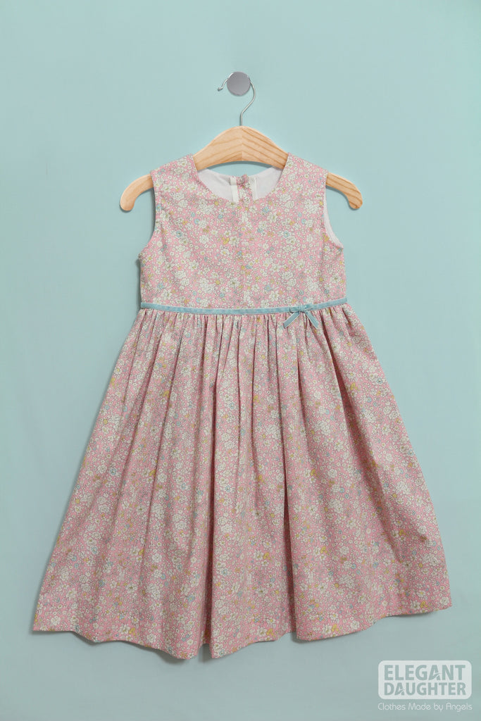 Rosy Dress with Blue Ribbon