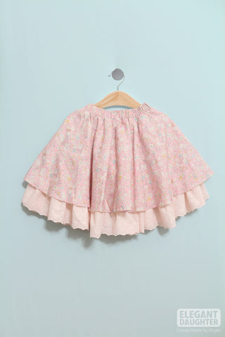 Double Layer Skirt with Lace-Rosy