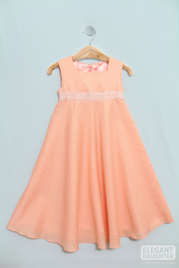 Light Peach Dress with White Lace Belt